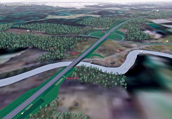Pappilanjoen sillan suunnitelma eritasoliittymästä
