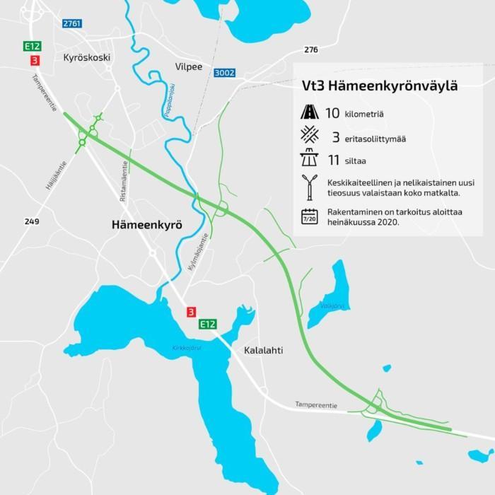 Karttakuva, jossa on kerrottu Hämeenkyrönväylän uudistuksen sijainti Kyröskosken ja Hanhijärven välillä.
