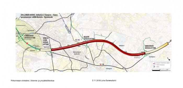 Karttakuva valtatien 3 uudistamisalueesta